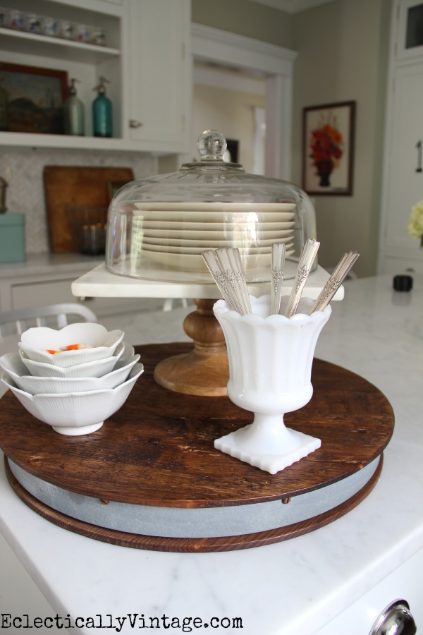 Rustic wood, marble, glass and vintage silver! kellyelko.com #EclecticallyFall