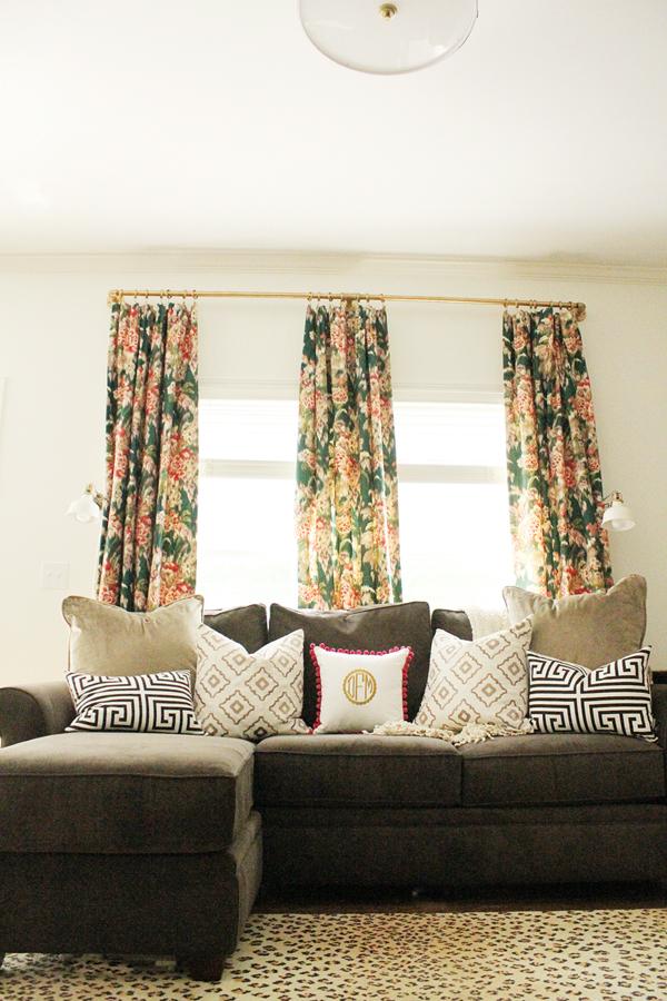 Beautiful family room - love the mix of prints kellyelko.com