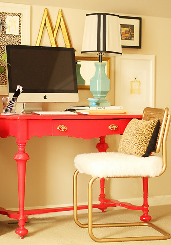 Fun home office - love the colors and the gold vintage chair kellyelko.com