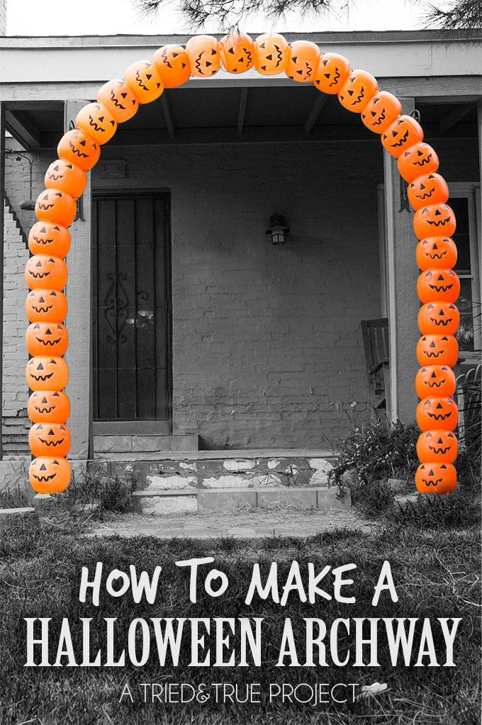 Make a Plastic Pumpkin Archway from cheap pumpkin pails - 7 more creative ideas kellyelko.com #pumpkindecor #falldecor #halloweendecor #halloweendiy #plasticpumpkins #diyhalloween #diyfall #halloweencrafts #fallcrafts