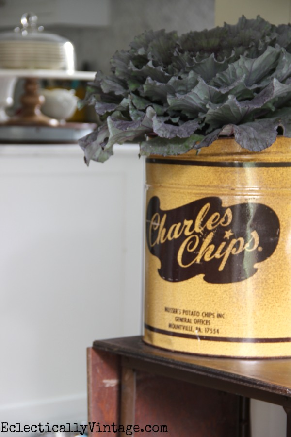 Vintage Charles Chips canister makes a fun vase kellyelko.com #EclecticallyFall