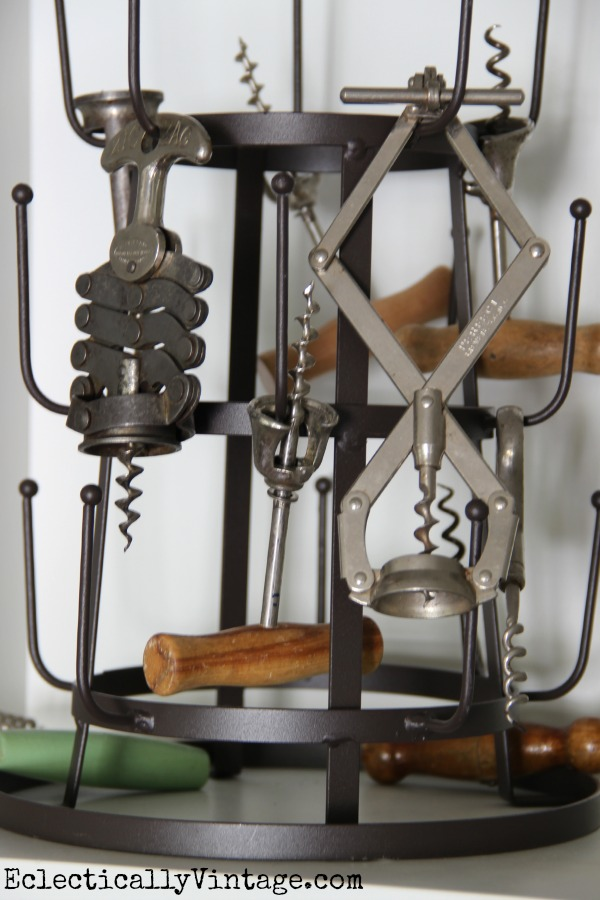 Fun way to display a vintage corkscrew collection kellyelko.com #EclecticallyFall