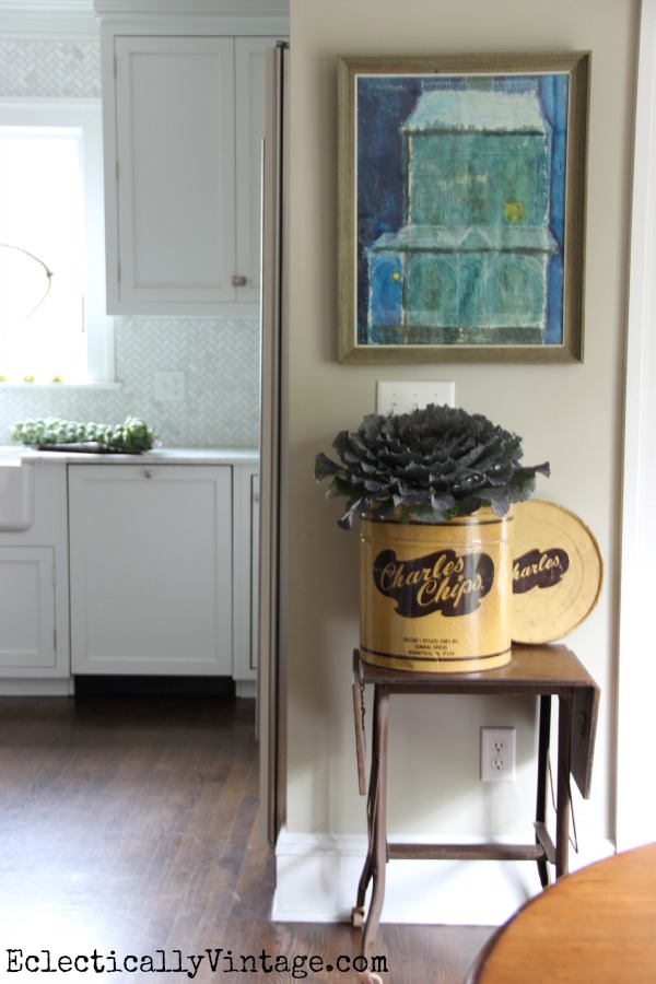 This kitchen is gorgeous and fun!  Love the old Charles Chips container as a vase kellyelko.com #EclecticallyFall