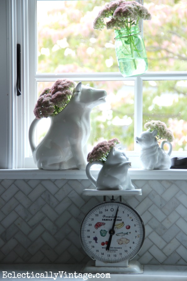 Get creative with vases - love the vintage creamers kellyelko.com #EclecticallyFall