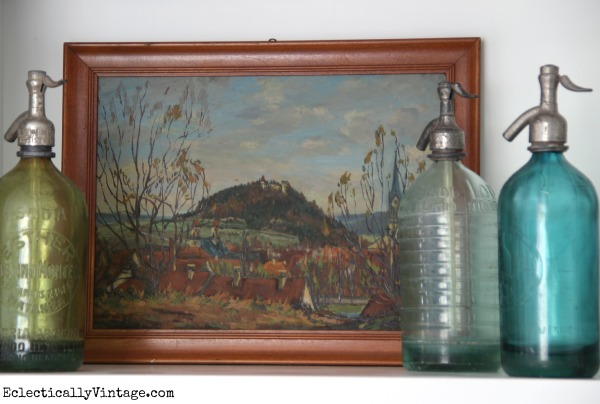 Love the vintage seltzer bottles kellyelko.com #EclecticallyFall