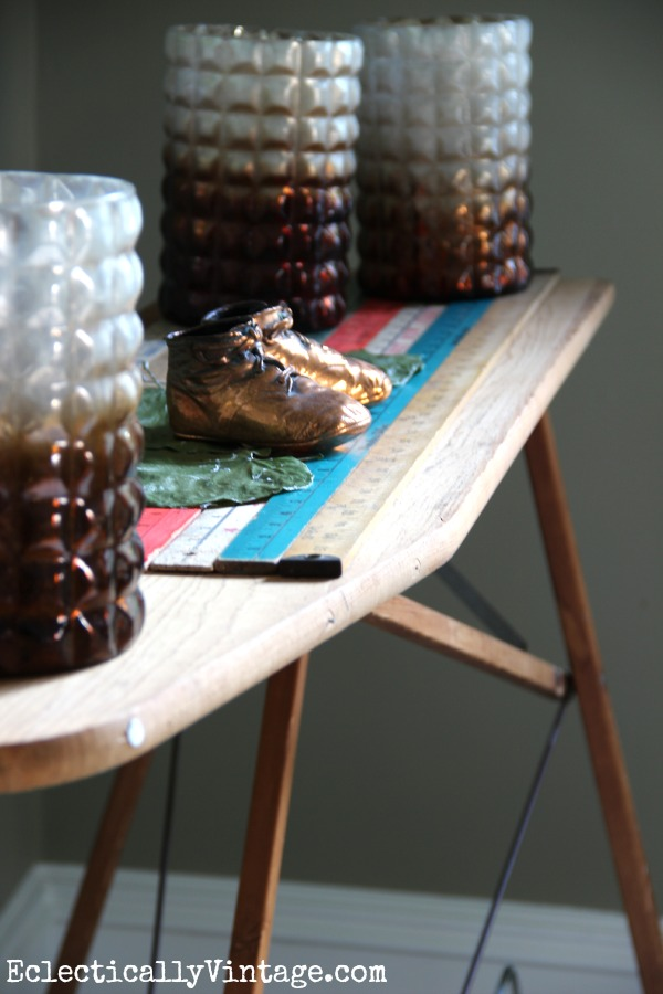 Vintage wood ironing board kellyelko.com #EclecticallyFall