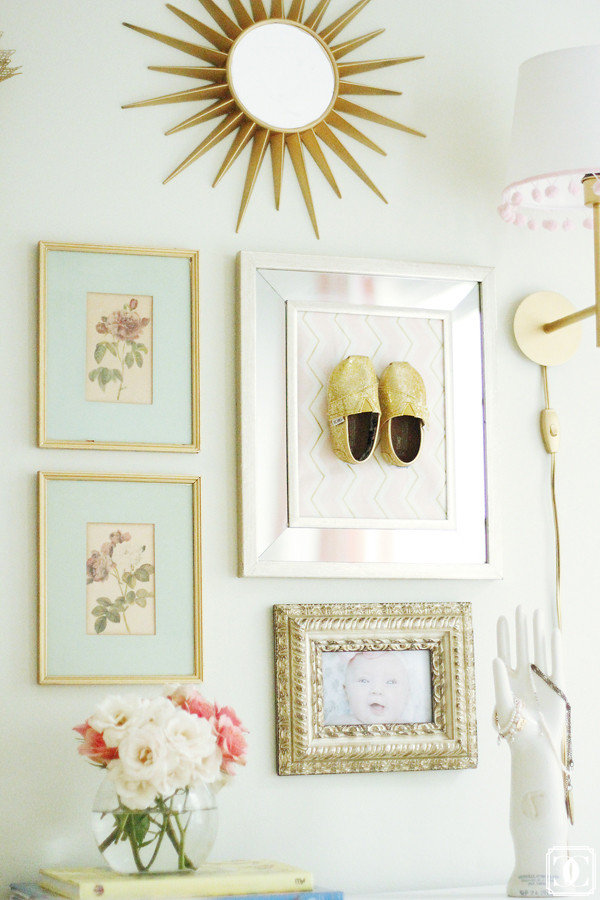 Fun little gallery wall - love the framed Toms shoes! kellyelko.com