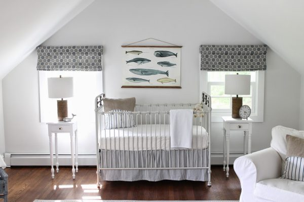 Nautical nursery - that whale art is adorable and love the blue accents kellyelko.com