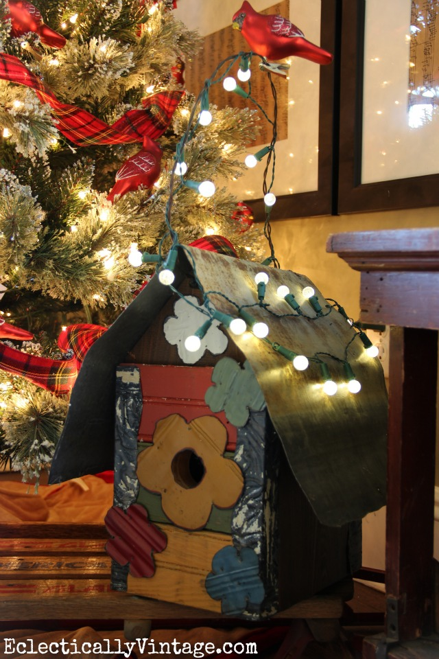 Christmas bird house - cute with the cardinal themed tree kellyelko.com