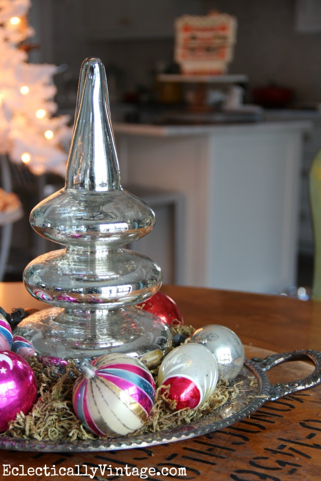 Christmas centerpiece - mercury glass tree and vintage Shiny Brites kellyelko.com
