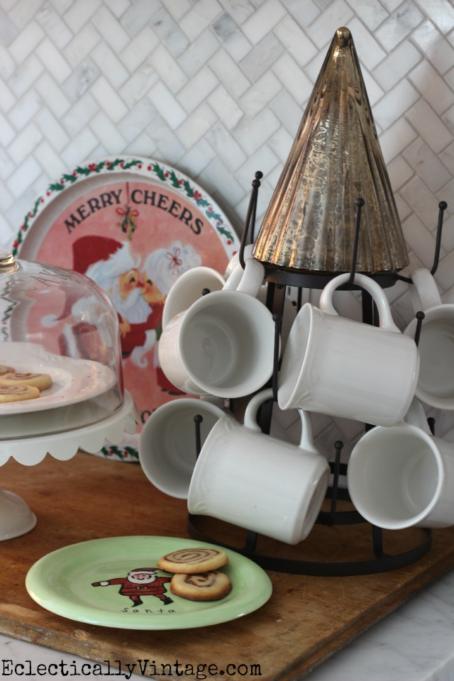 Cookies for Santa - love this bottle drying rack to hang mugs kellyelko.com