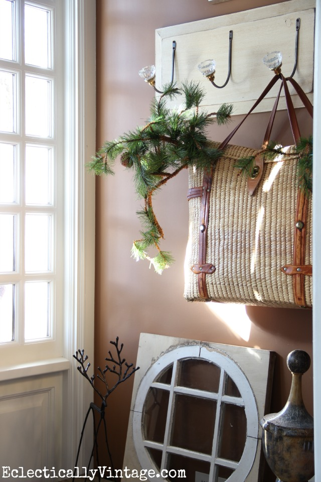 Fill an old basket with greenery for Christmas kellyelko.com