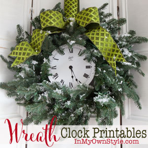 Christmas-Wreath-Decorating-Ideas-this-one-uses-a-free-clock-printable