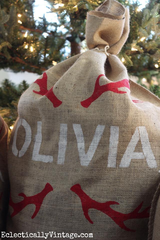 Make a DIY Personalized Grain Sack - I love the antler stencil! kellyelko.com