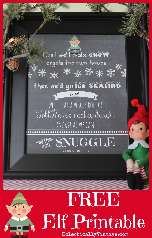 FREE Christmas Elf Movie Printables - this is so funny! kellyelko.com
