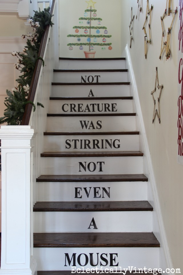 Night Before Christmas Staircase - this is so fun!  Part of this creative Christmas house tour! kellyelko.com
