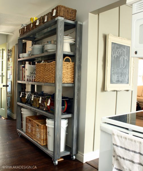 rolling kitchen pantry shelves