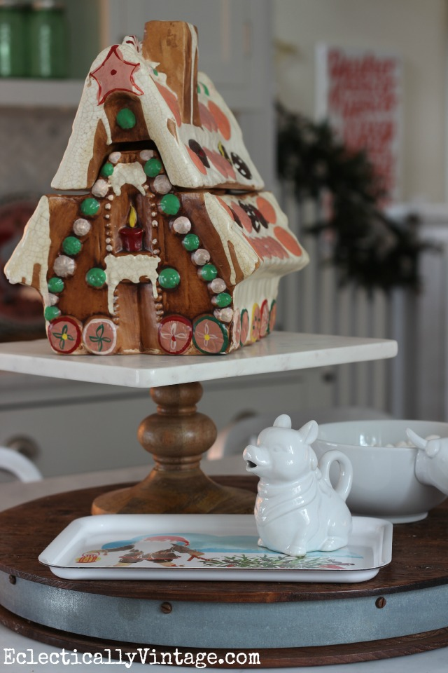 Vintage gingerbread house cookie jar - fun in this Christmas kitchen kellyelko.com