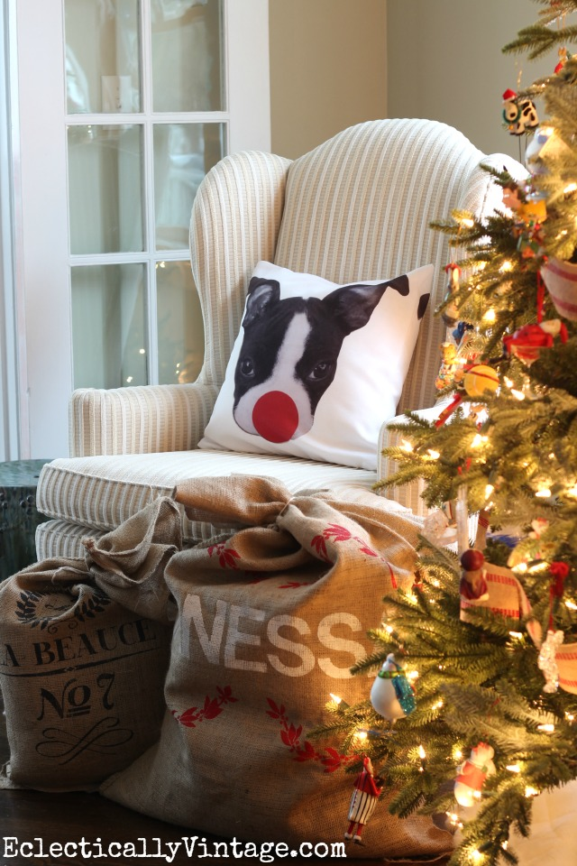 Boston Terrier Christmas pillow - love the big red Rudolph nose! kellyelko.com