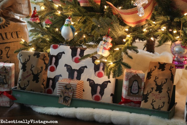 Love the furry white blanket as a Christmas tree skirt - and the adorable custom Boston Terrier wrapping paper! kellyelko.com