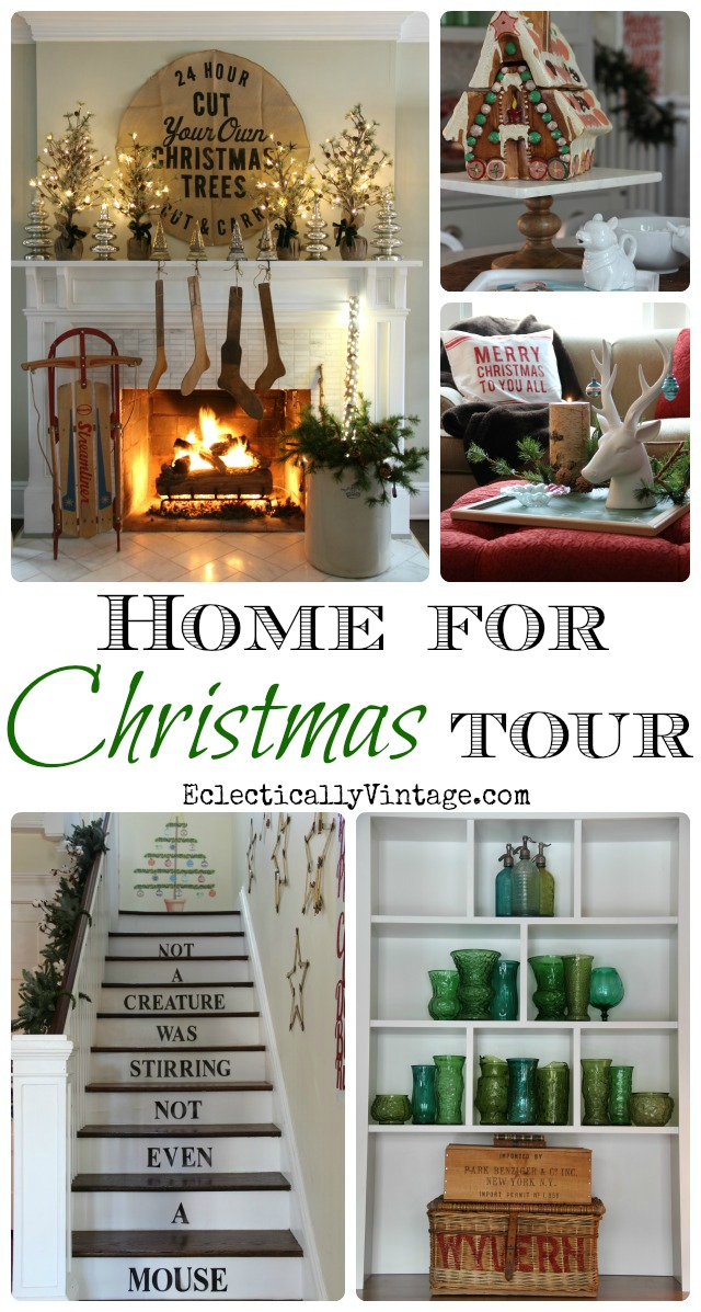 Christmas House Tours - tons of creative Christmas decorating ideas in this gorgeous home! kellyelko.com