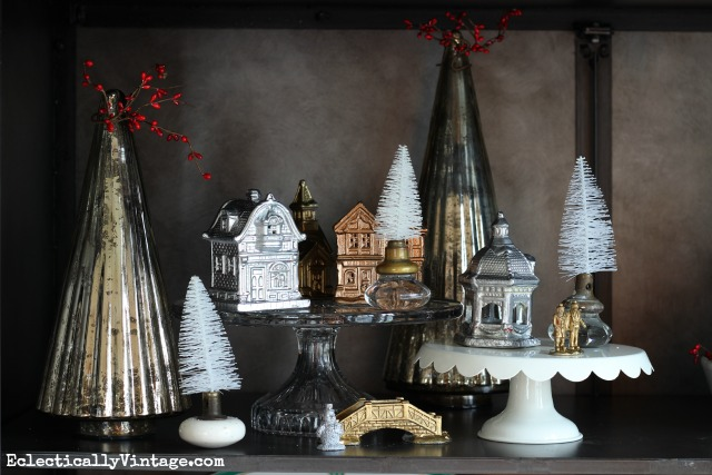 Cute Christmas village display - love the mercury glass trees kellyelko.com