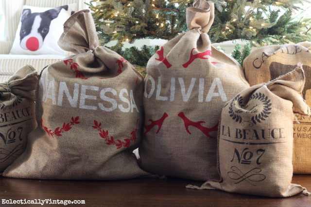 Creative Christmas Decorating Ideas - love these DIY grain sacks under the tree kellyelko.com