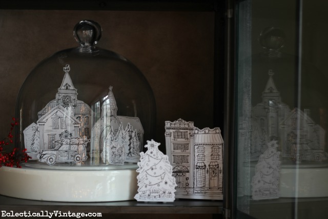 Love this free Christmas village printable kellyelko.com