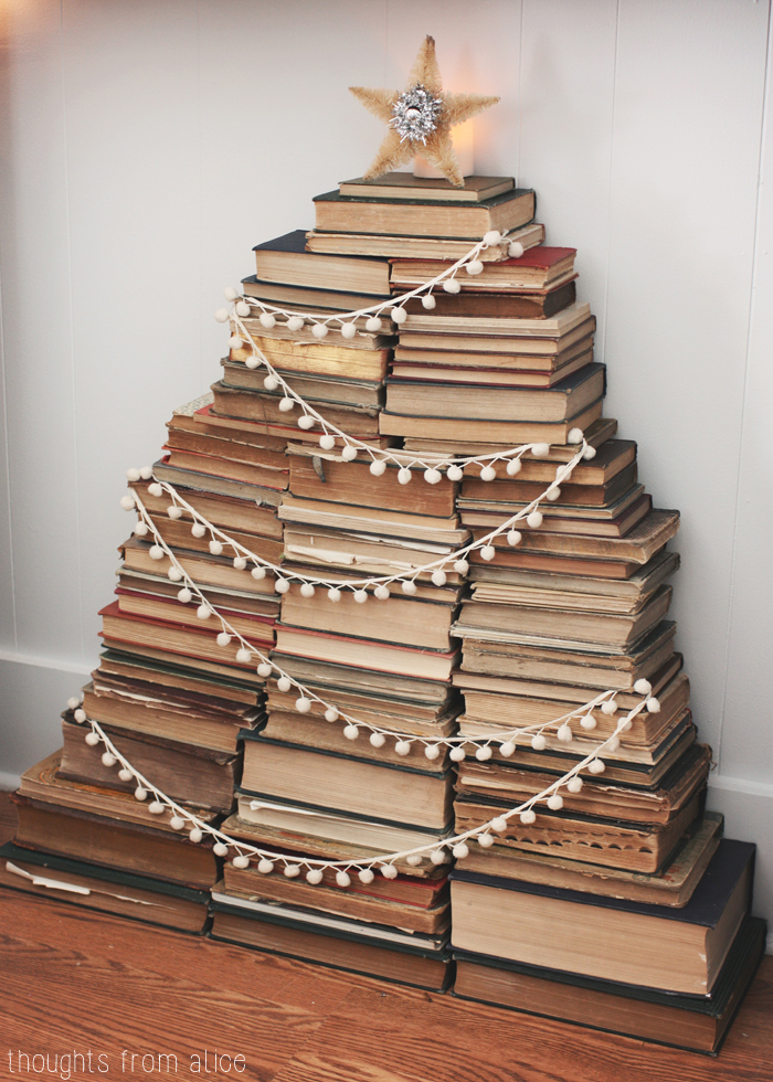 Vintage book Christmas tree - one of 10 creative Christmas tree ideas kellyelko.com