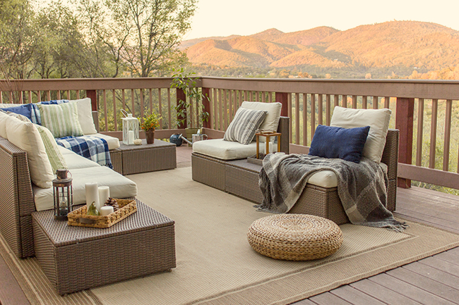 Wow - what a view!  This deck furniture is so inviting and you have to see the inside of this California cottage kellyelko.com