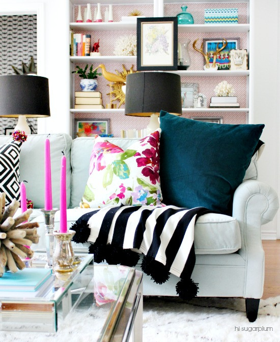 Eclectic Mix Of Pillows : Hi Sugarplum Blog Home Tour