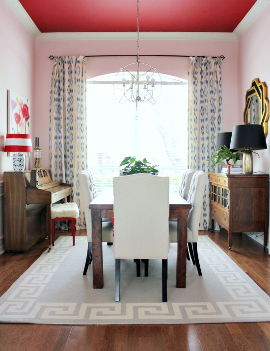 Go bold in the dining room - love the red ceiling kellyelko.com
