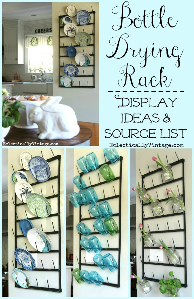 Wall Bottle Drying Rack Display Ideas - I love this huge rack and the different ways she styled the rack are so creative! kellyelko.com #farmhouse #farmhousedecor #farmhousekitchen #kitchendecor #cottagedecor #platewall #gallerywall #eclecticdecor