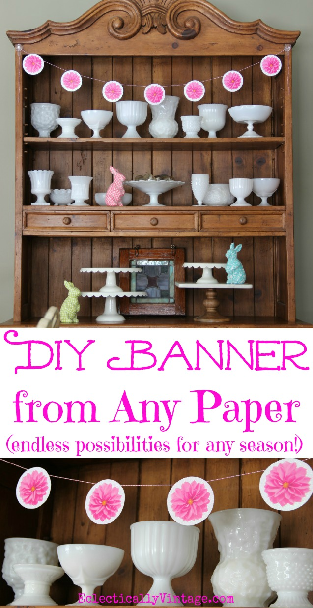 DIY Paper Banner - from any paper! So fun, use this tutorial with music sheets, book pages, scrapbook paper and more! kellyelko.com