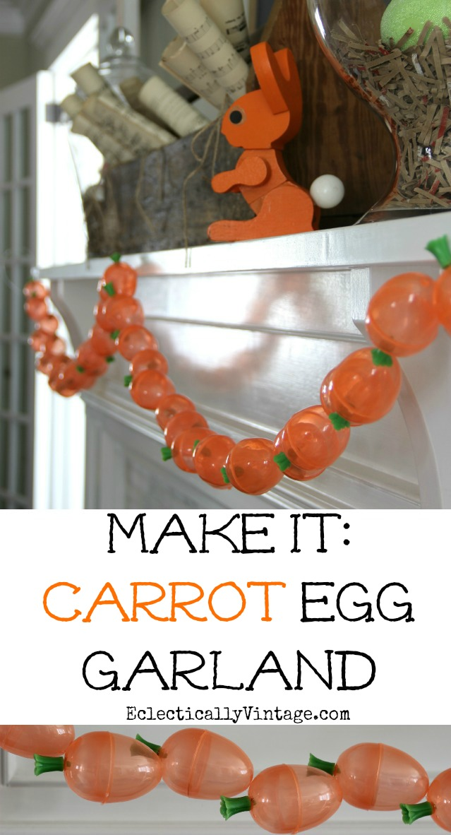 DIY Carrot Egg Garland - a fun Easter spring craft kellyelko.com #spring #springcrafts #easter #eastercrafts #kidscrafts #crafting #crafts #diyideas #diyprojects #springmantel #springdecor