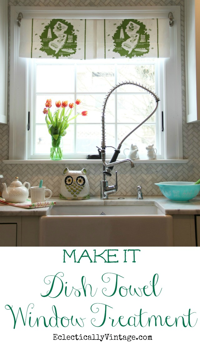 Make this fun DIY Dish Towel Window Treatment - best part, no commitment when you want to remove it! kellyelko.com