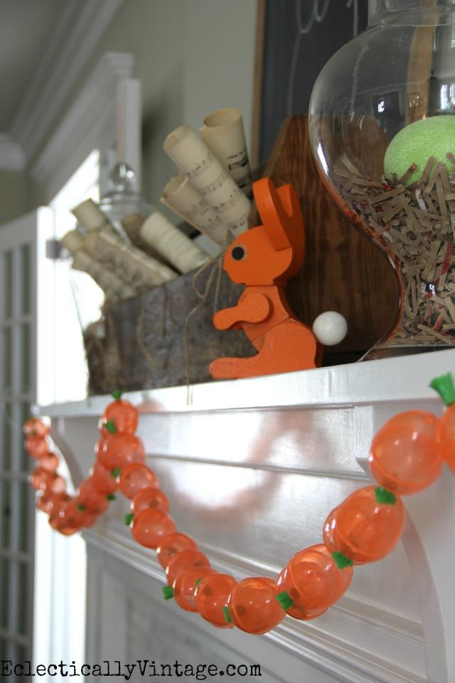 Rustic Spring Mantel and DIY Carrot Garland kellyelko.com