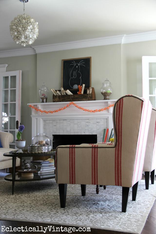 Spring living room - that mantel is fabulous! kellyelko.com