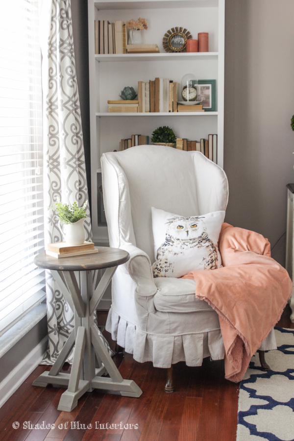 Love this little reading nook with the owl pillow and the DIY side table kellyelko.com