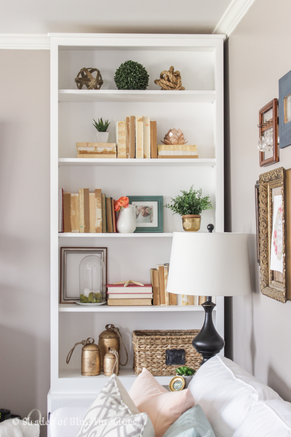 Beautifully styled bookcase kellyelko.com