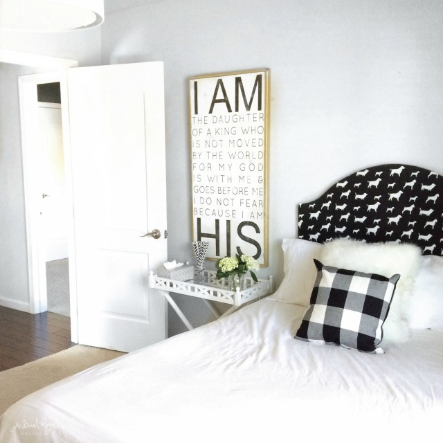 Cute black and white bedroom - love dog fabric headboard and the hand lettered sign kellyelko.com