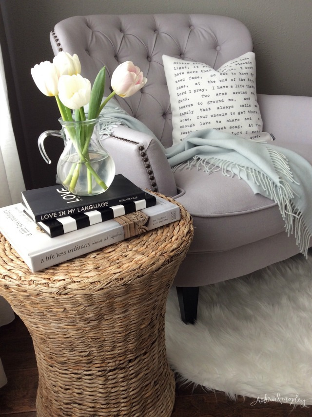 Cozy reading nook - love the tufted chair kellyelko.com
