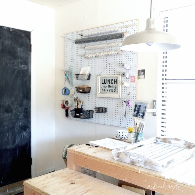 Pegboard storage - perfect for a home office kellyelko.com