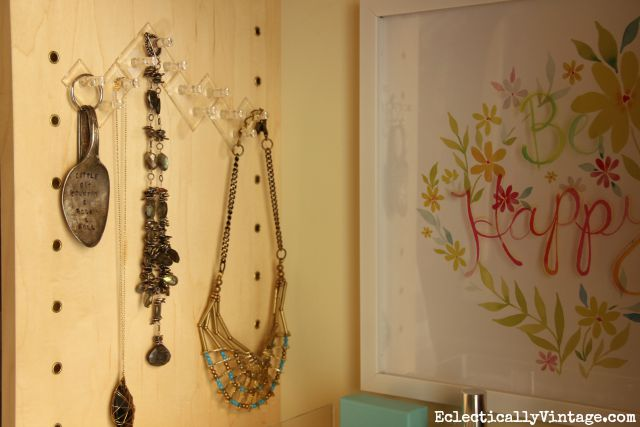 Command Jewelry Organization - great idea to get jewelry out of the drawer and on display where you can see what you have kellyelko.com