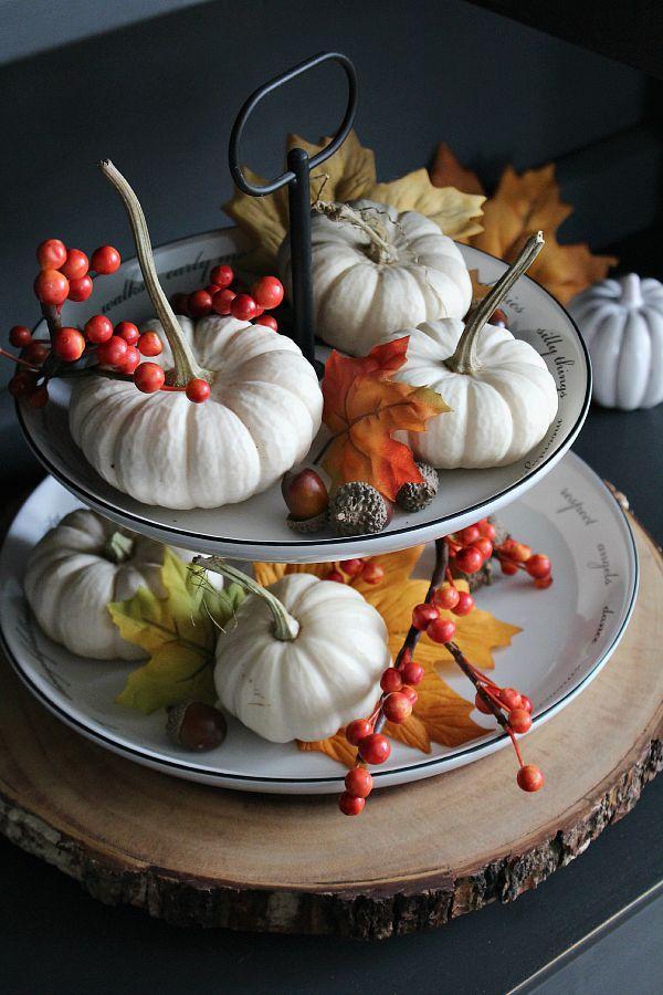 Mini white pumpkin fall centerpiece