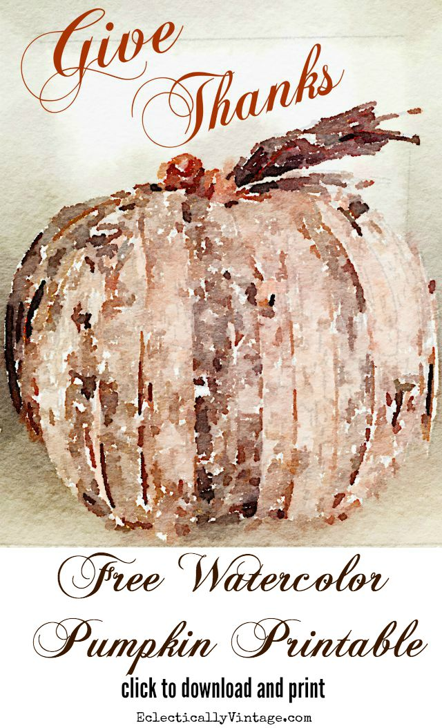 Free fall watercolor pumpkin printable - plus 22 more amazing fall printables kellyelko.com