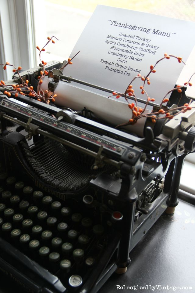 Antique typewriter menu kellyelko.com