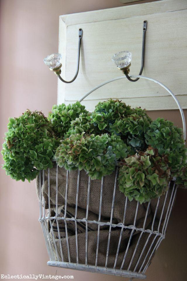 Basket of hydrangeas kellyelko.com