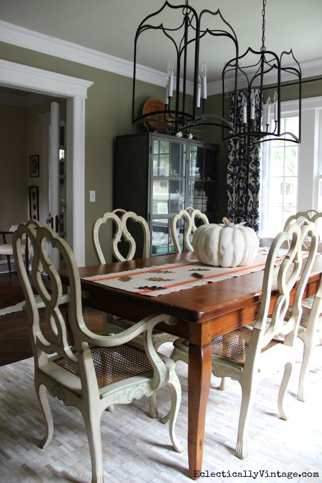 Fall dining room - love the orange table runner and the double lanterns kellyelko.com