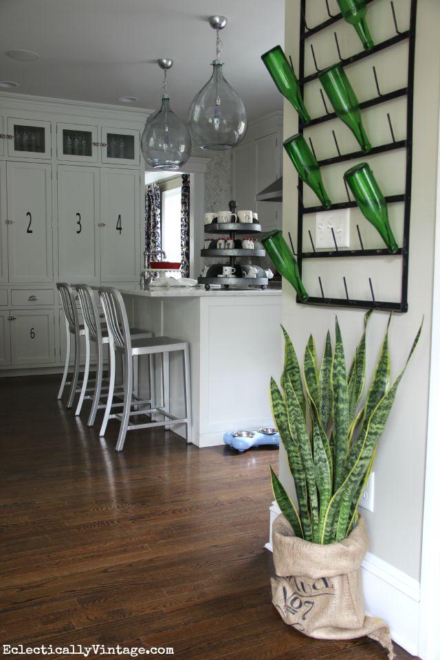 Eclectic kitchen - love the bottle drying rack kellyelko.com